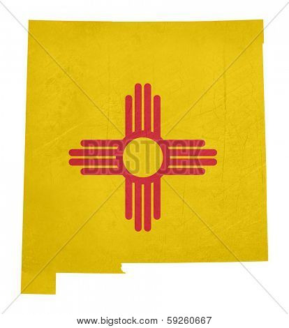 Grunge state of New Mexico flag map isolated on a white background, U.S.A.
