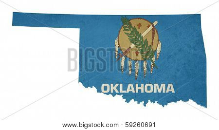 Grunge state of Oklahoma flag map isolated on a white background, U.S.A.
