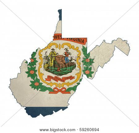 Grunge state of West Virginia flag map isolated on a white background, U.S.A.