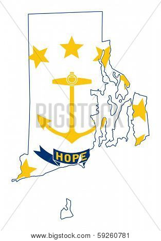 State of Rhode island flag map isolated on a white background, U.S.A.