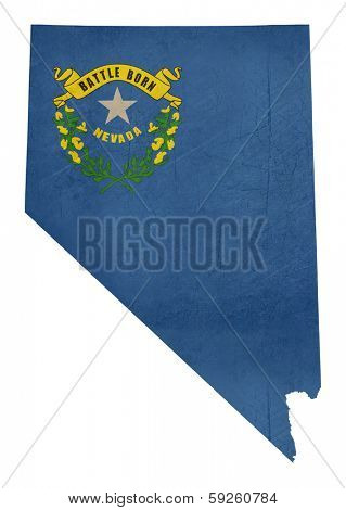 Grunge state of Nevada flag map isolated on a white background, U.S.A.