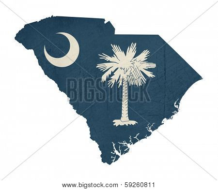 Grunge state of South Carolina flag map isolated on a white background, U.S.A.