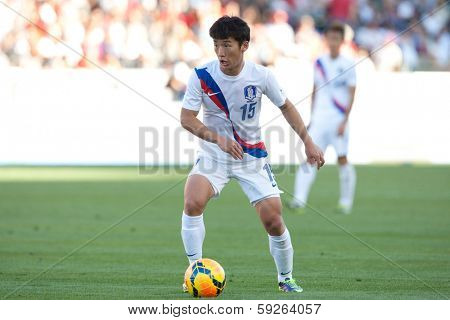 CARSON, CA. - FEB 01: Korea M Min-Woo Kim #15 in action during the U.S. mens national team soccer friendly against Korea Republic on Feb 1st 2014 at the StubHub Center in Carson, Ca.