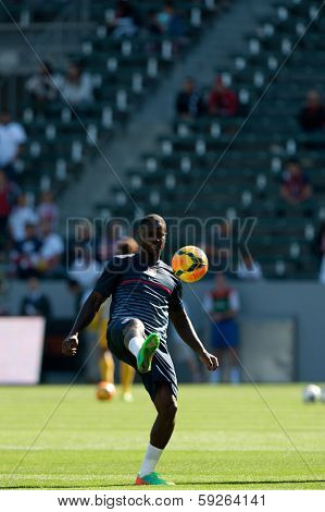 CARSON, CA. - FEB 01: USA F Eddie Johnson #18 in action during the U.S. mens national team soccer friendly against Korea Republic on Feb 1st 2014 at the StubHub Center in Carson, Ca.