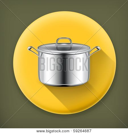 Pan, long shadow vector icon