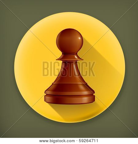 Chess Pawn, long shadow vector icon