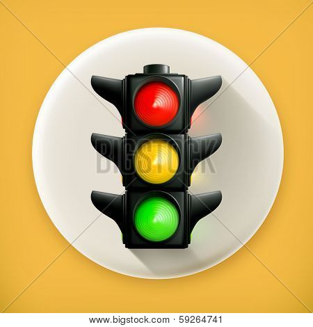 Traffic lights, long shadow vector icon