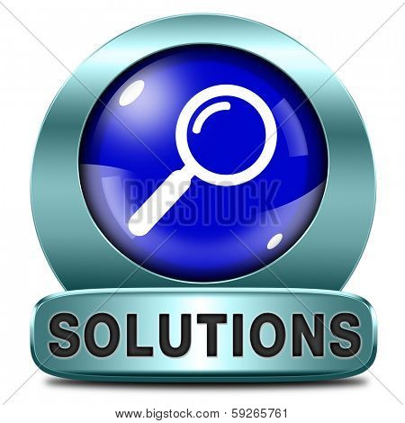 solutions solve problems and search problem and find a solution blue magnifying glass icon button or sign