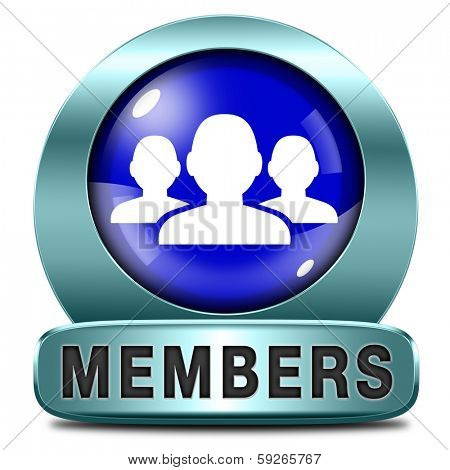 members only blue icon sign or sticker become a member and join here to get your membership label.