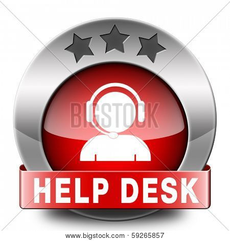 help desk red icon or button or online support call center customer service