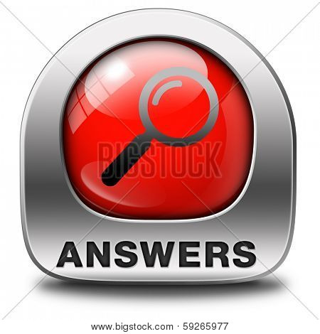 search answers indicating way to solve problems answer button answer icon search answer and discover truth text and word concept red icon magnifying glass