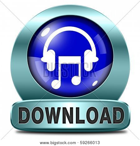 Music download button or icon to play and to listen live stream or for download song