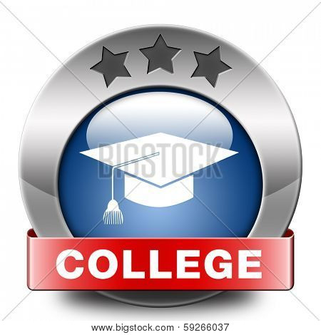 college towards good education and knowledge learn to know educate yourself and go to school blue red icon or button