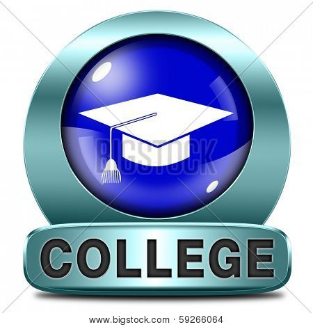 college towards good education and knowledge learn to know educate yourself and go to school icon or button