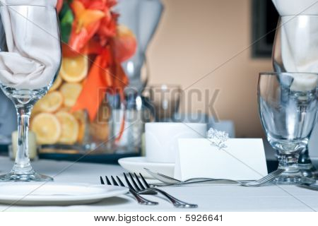 Table Place Setting With Colorful Center Piece