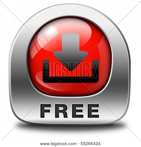 free download icon, downloading music video movie or pdf file or document for free red and metal button