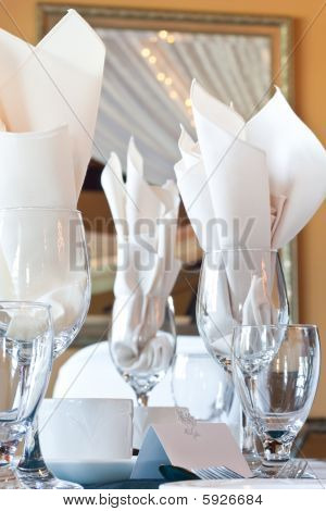 Table Place Setting With Wine Glasses And Blank Place Card