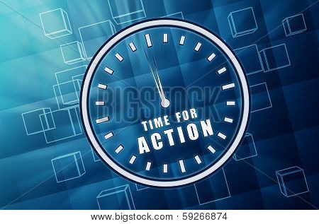 Time For Action In Clock Symbol In Blue Glass Cubes