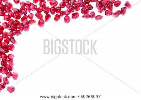 Border Of Fresh Ripe Pomegranate Seeds
