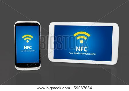 Mobile Devices With Nfc Chip. Wireless Communication And Payment Method