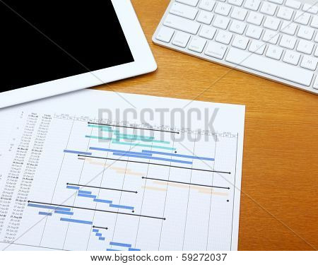 Gantt chart with tablet and computer keyboard