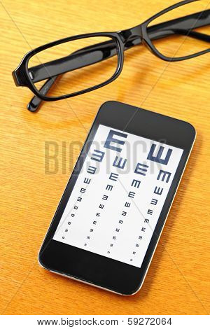 Eyechart on mobile with glasses