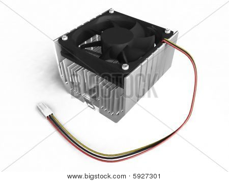 Cpu Cooler Isolated Side View