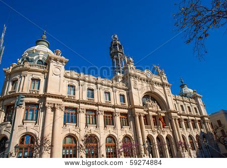 Correos building in Valencia in Plaza Ayuntamiento downtown at Spain