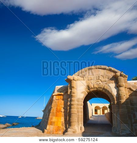Tabarca Puerta de San Miguel de Tierra fort door arc in Alicante Spain