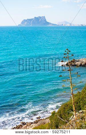 Ifach Penon view from Moraira alicante in Mediterranean Spain