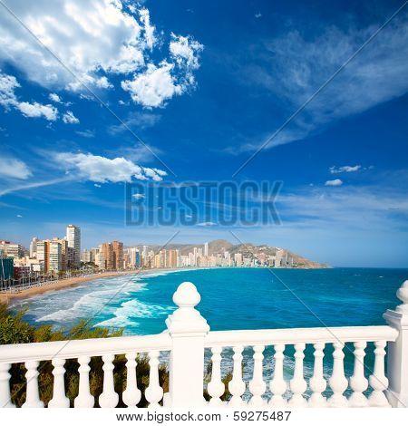 Benidorm balcon del Mediterraneo Mediterranean sea white balustrade in Alicante Spain