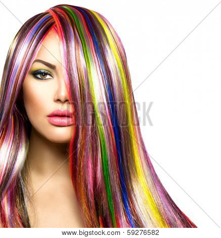 Colorful Hair and Makeup. Beauty Fashion Model Girl with Colorful Dyed Hair. Colourful Long Hair and Make up for Brown eyes. Portrait of a Beautiful Girl with Dyed Hair, professional hair Coloring