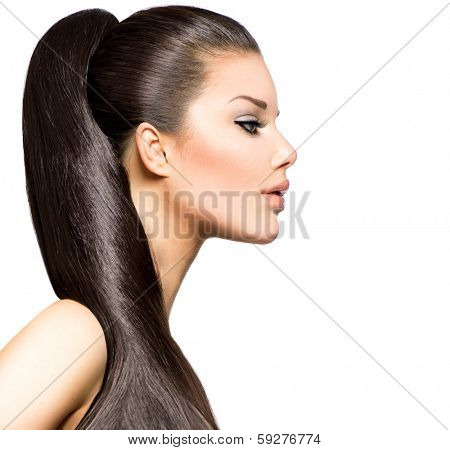 Ponytail Hairstyle. Beauty Brunette Fashion Model Girl with Long Healthy Straight Brown Hair. Beautiful Woman with brown long Healthy Smooth Straight hair