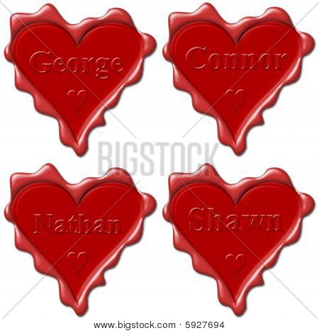 Valentine Love Hearts With Names: George, Connor, Nathan, Shawn,