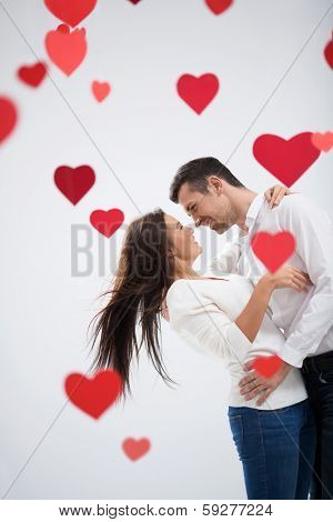 Young loving couple in studio