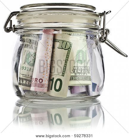 Money glass jar full of savings  banknotes isolated on white background. Business concept.