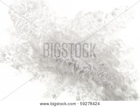 Pile of strach powder surface top view close up  isolated on white background