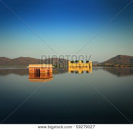 landscape with jal mahal - palace on lake in Jaipur India