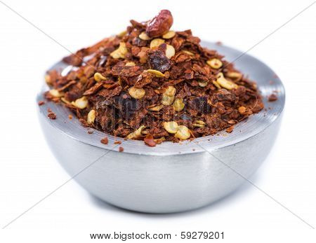 Chilli Spice In A Small Bowl (on White)