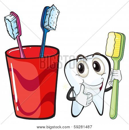 Illustration of a tooth holding a toothbrush beside the glass on a white background