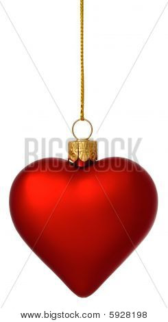 Crimson Christmas Heart Bauble On Gold Thread