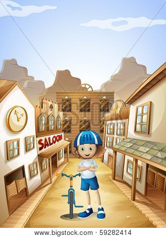 Illustration of a young girl with a bicycle standing in the middle of the saloon bars