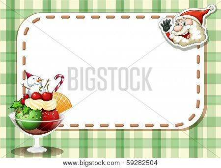 Illustration of an emtpy christmas card with a smiling Santa and a glass of sweets
