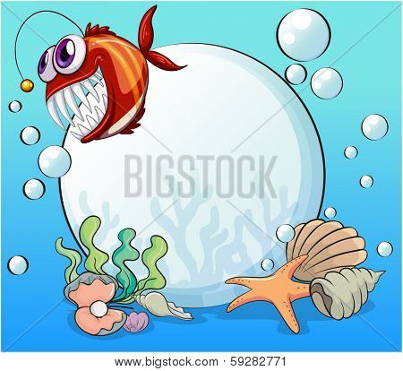 Illustration of a big pearl and the smiling piranha under the sea