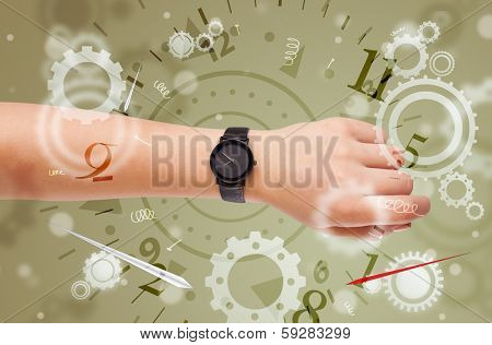 Hand with watch and numbers comming out on the side