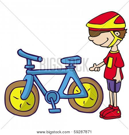 cartoon illustration of boy and his bike