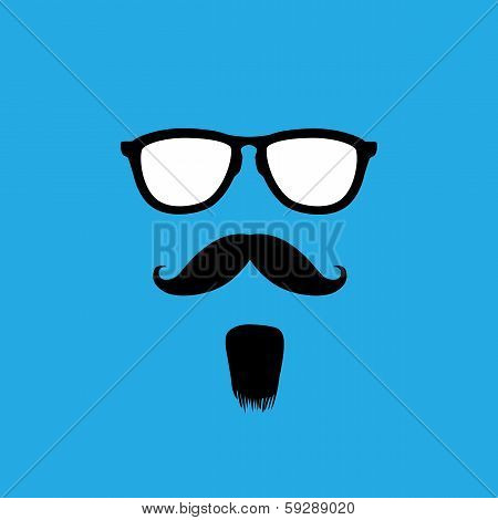 Man With Old Style Mustache, Beard & Sunglasses Vector