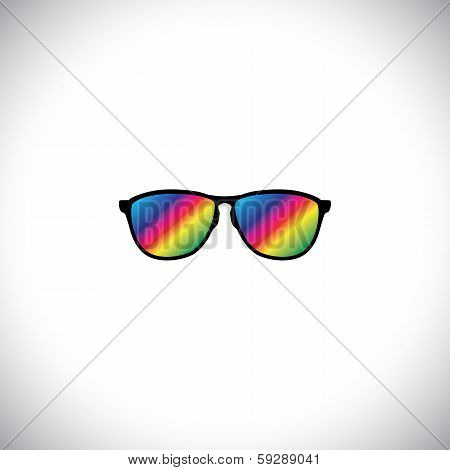 Concept Vector Of Traveler Or Tourist Wearing Colorful Glasses.