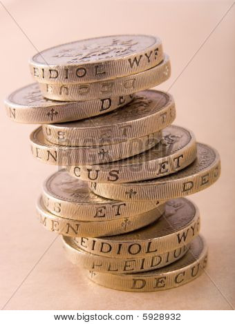 Stack of one pound coins