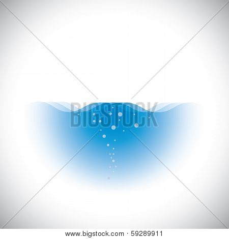Pure Crystal Clear Blue Water Of Oceans & Seas - Vector Concept